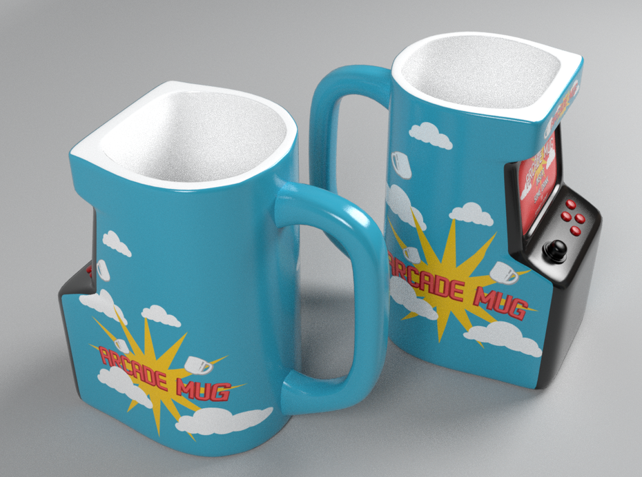 blue arcade cabinet-shaped mugs