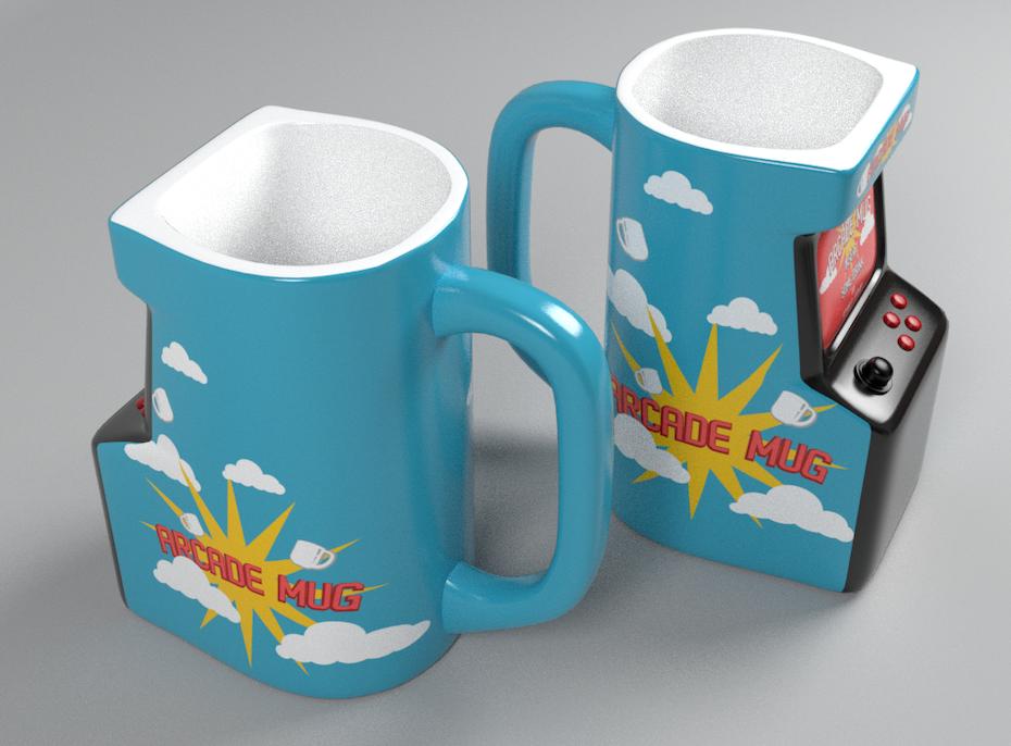 blue arcade cabinet-shaped mugs