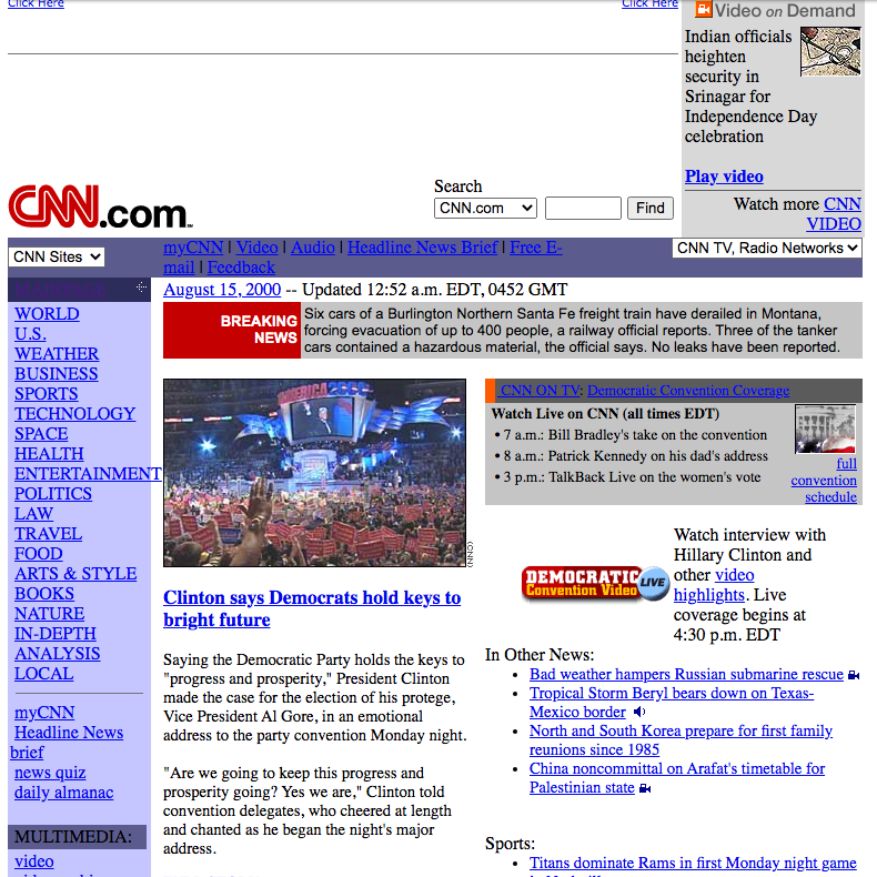 CNN website look in 2000