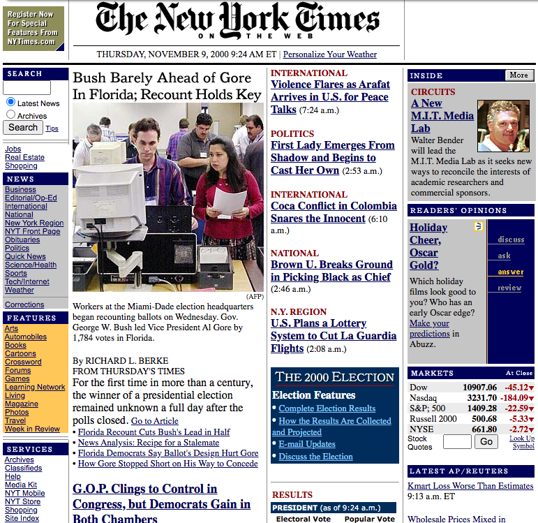 The New York Times website look in 2000