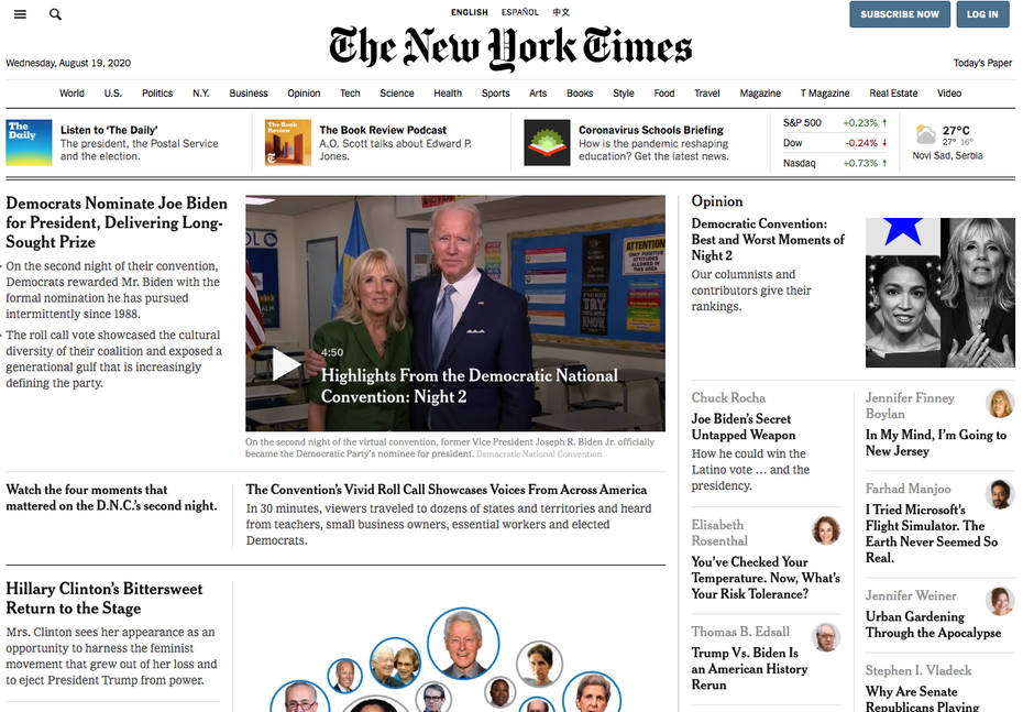 The New York Times website look in 2020