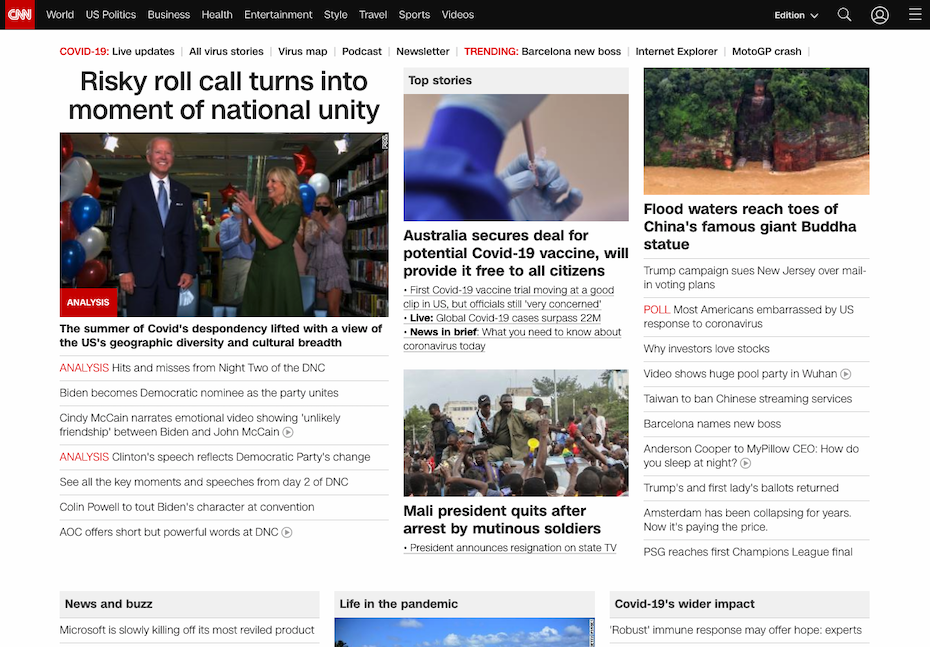 CNN website look in 2020