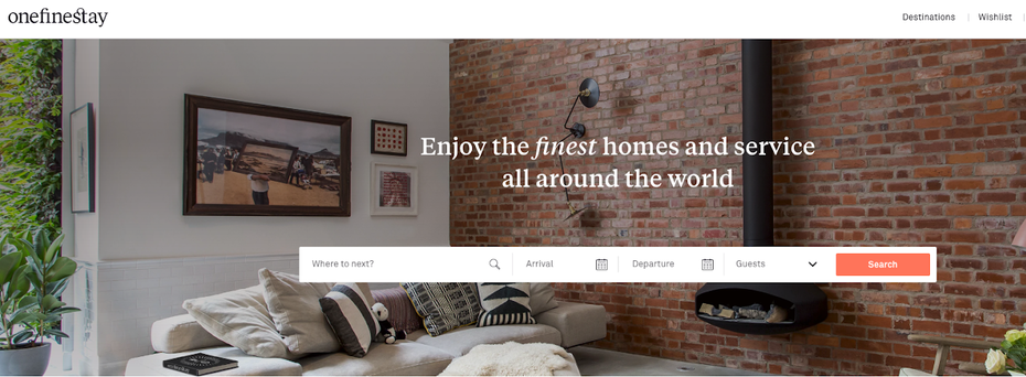 onefinestay homepage featuring a search interface, bold visual, and mission message