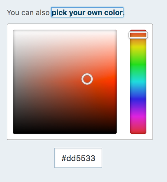 scroll-over color palette showing shades of orange