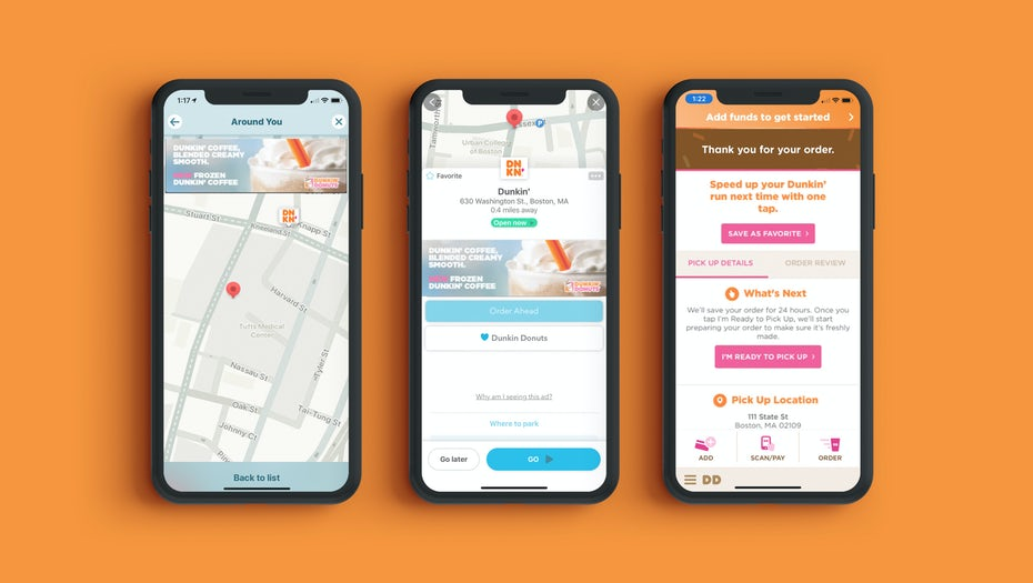 smartphone screens showing the Dunkin and Waze partnership