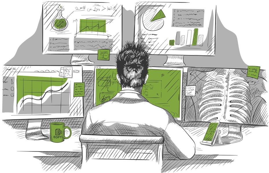 Skizzenstilbild einer Person, die an einem Computer arbeitet