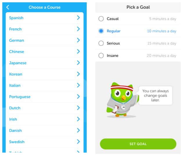 Duolingo's menus