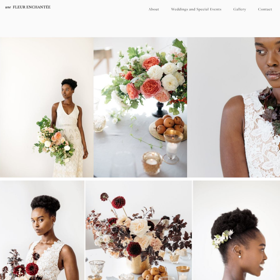 A white photographic wedding website with images of brides and flowers