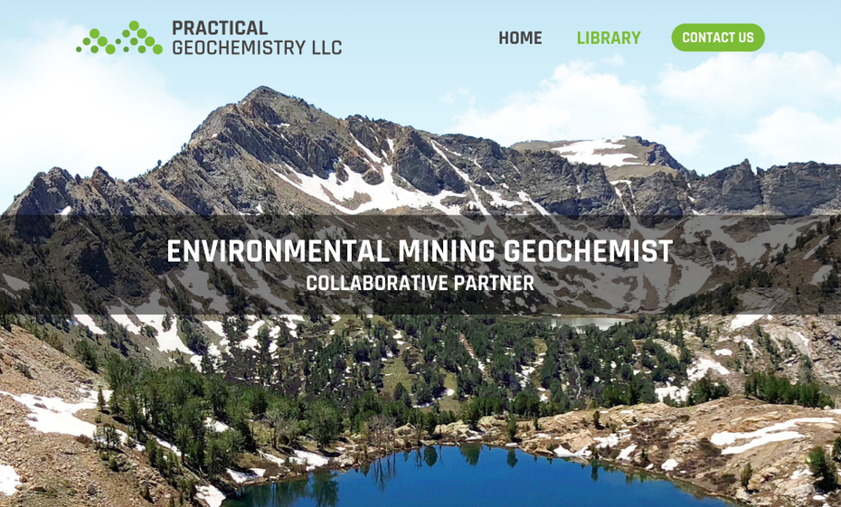green and white website for a geochemist