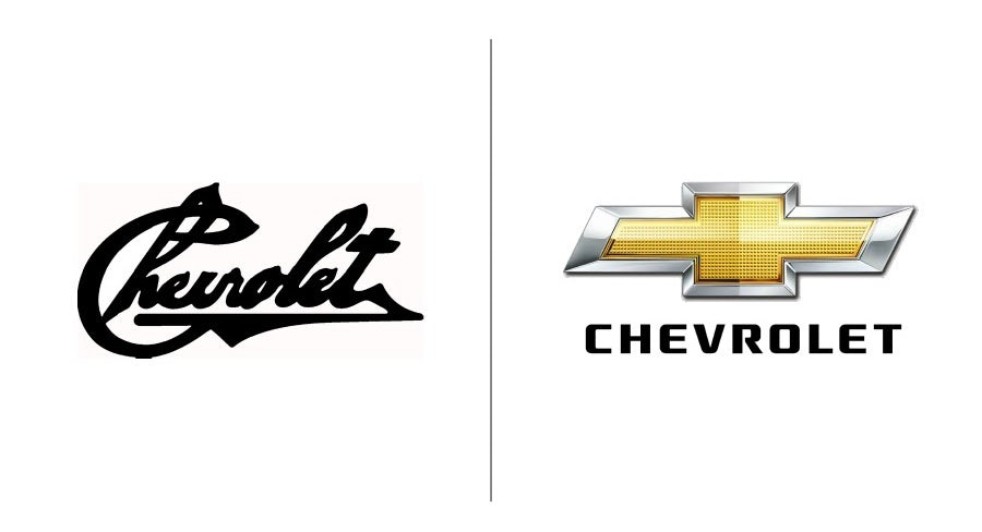 Chevrolet logo evolution examples