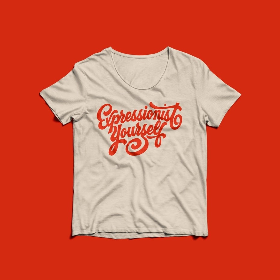 red on white hand-lettered Expressionist Yourself tshirt design