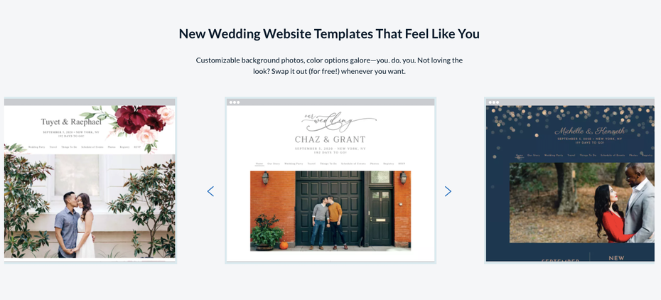Screenshot of a wedding website template service