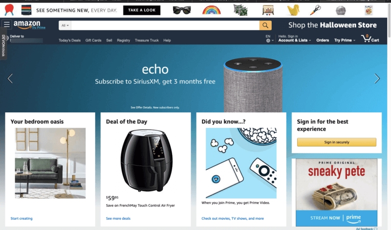 screenshot Amazon homepage