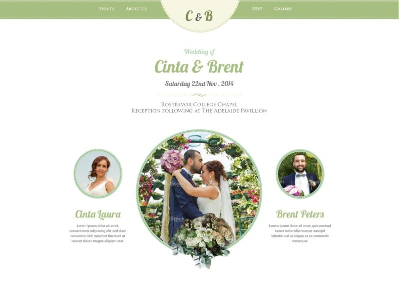 A pastel green wedding website design