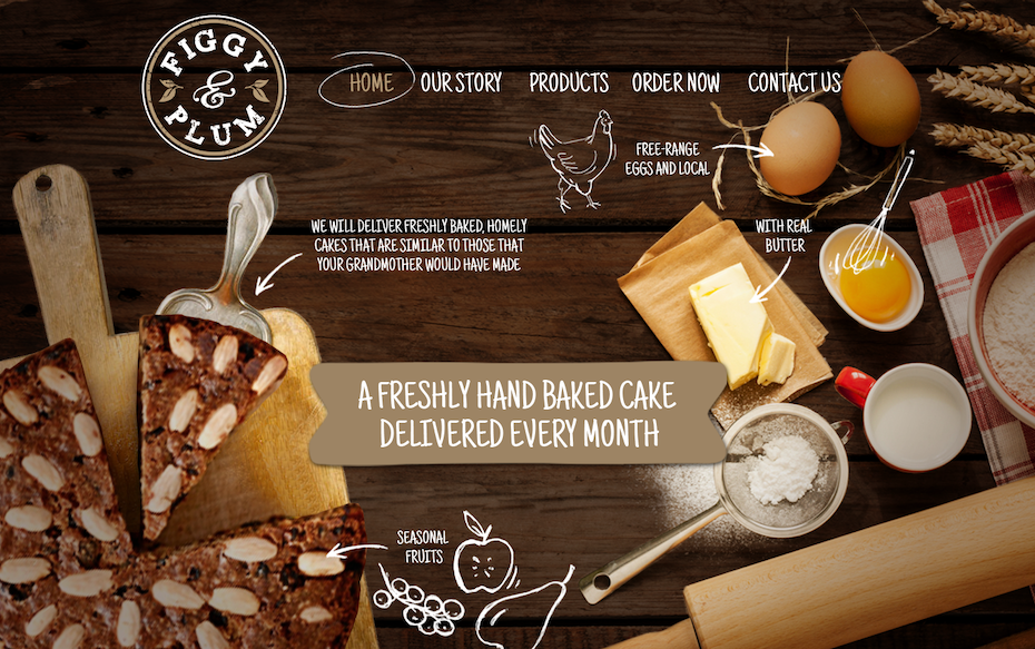 website design for a subscription cake website