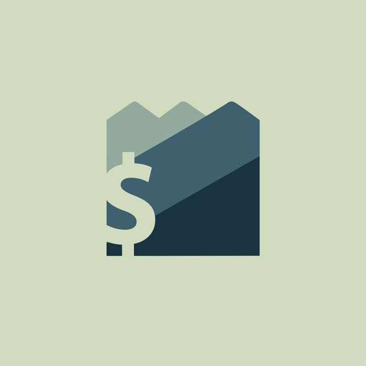 app logo in shades of gray and blue showing a mountain and dollar sign