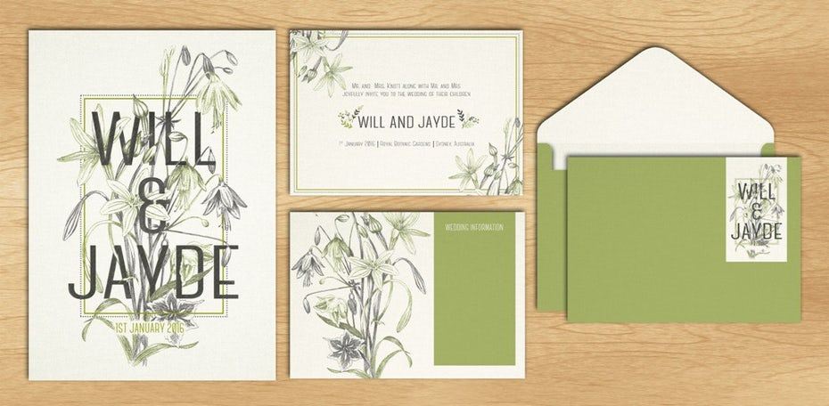 A green, illustrated wedding logo, invitation, and stationery design