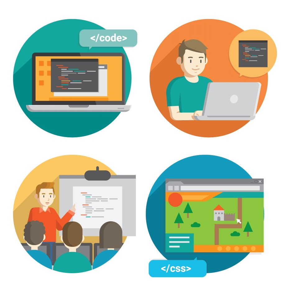 Illustrated badges of people learning code