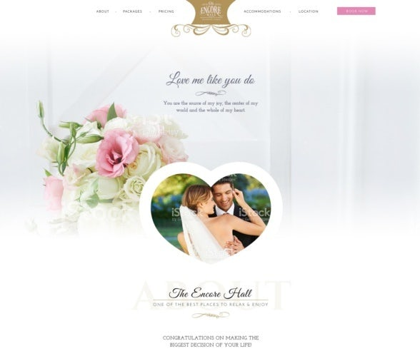 A wedding website design with a pink, gold and white color scheme