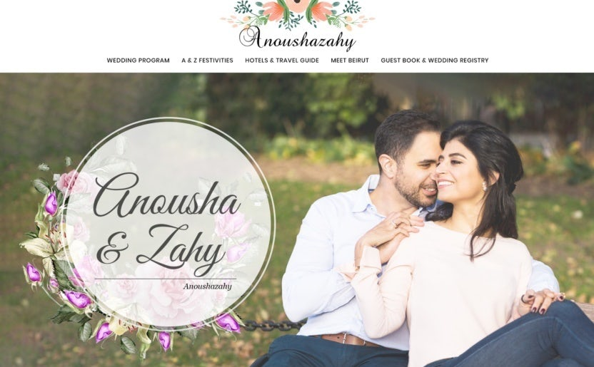 A wedding website design with floral illustrations and a pink color scheme
