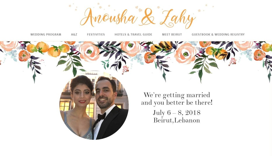 Minimalist wedding website design with watercolor flowers