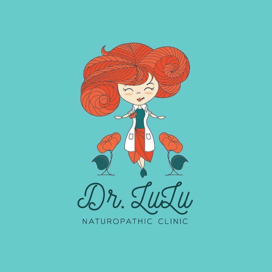 Arzt-Logo mit zeichentrickfigur