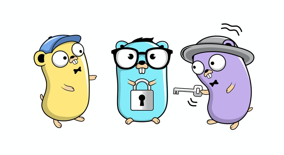 go gopher illustration with three gophers holding lock and key