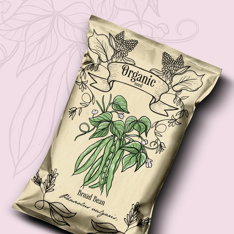 vintage experience packaging design trend: pouch-style seed packaging