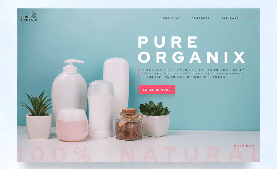 Soft blue and pink web page design for skin care