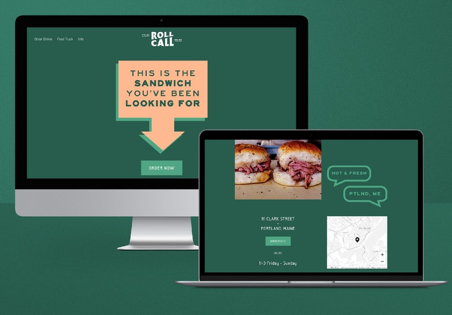 dark green and apricot website design