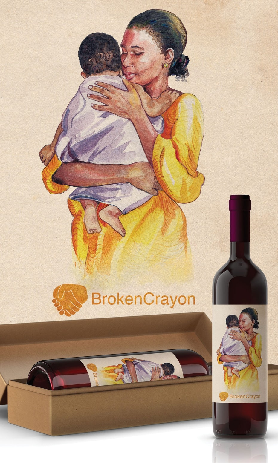 Watercolor wine label design of a mother and baby