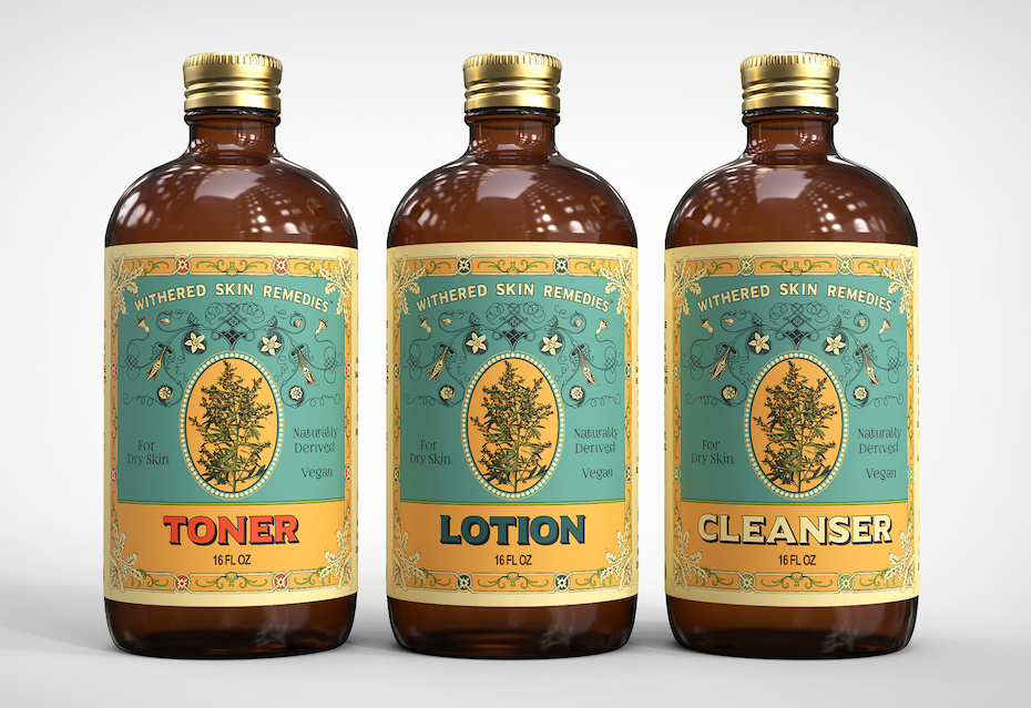 vintage experience packaging design trend: three glass bottles of skin products with vintage-inspired labels