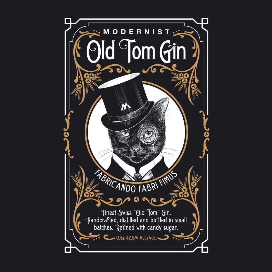 story-driven packaging design trend: black gin label showing an illustration of a cat in a top hat