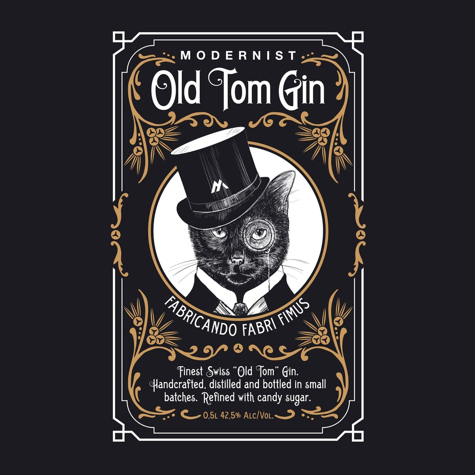 black gin label showing an illustration of a cat in a top hat
