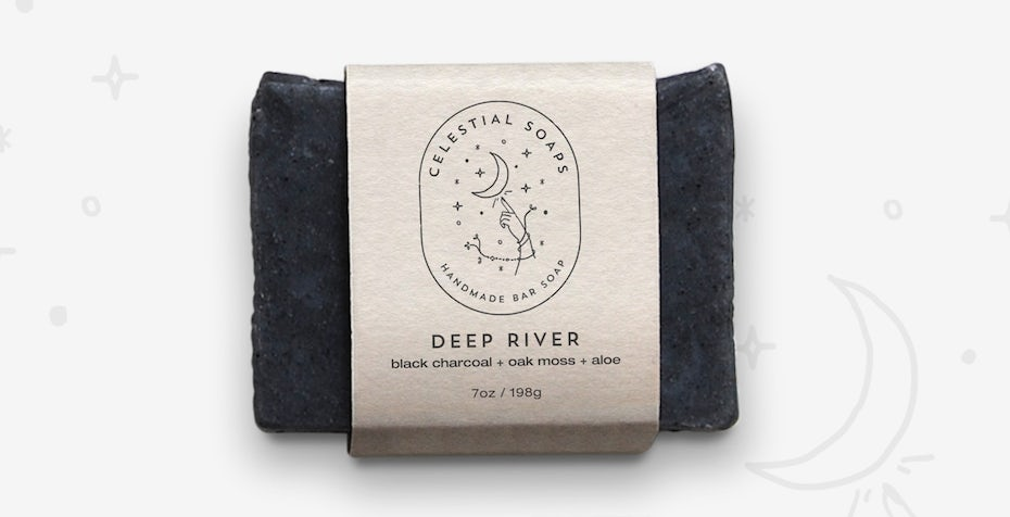 Soap packaging design with celestial symbols