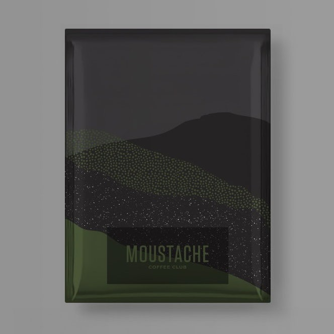 coffee packaging in gray and green color blocking