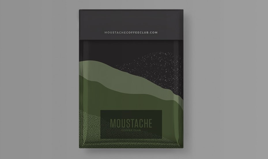 organic color blocking packaging design trend: coffee packaging in gray and shades of green