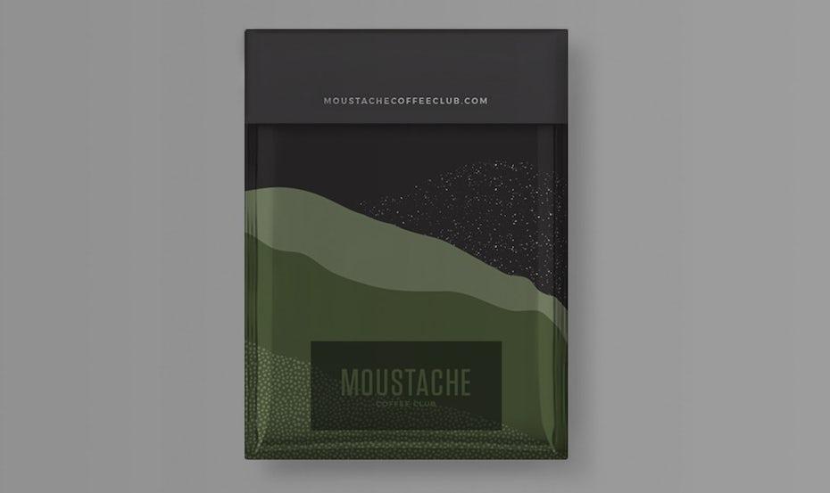 verpackunsgtrend: Natürlich geformtes Color Blocking - kaffeeverpackung mit grünen und grauen farben
