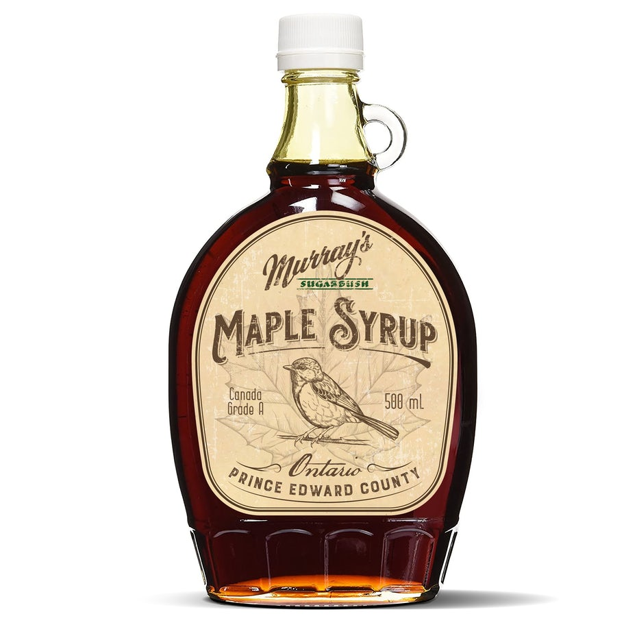 maple syrup bottle with illustrated label
