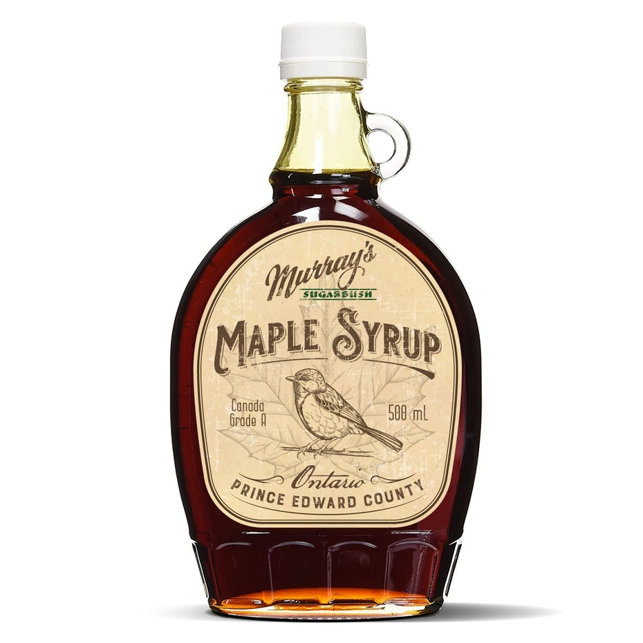 vintage experience packaging design trend: maple syrup bottle with illustrated label