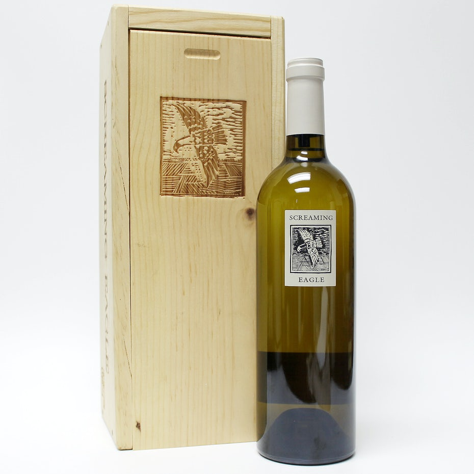 bottle of screaming eagle sauvignon blanc beside its box