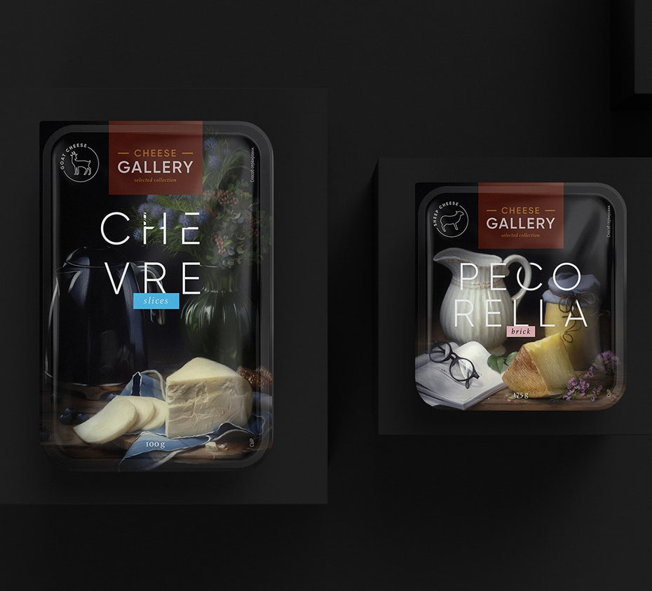 still life painting inspired cheese packaging