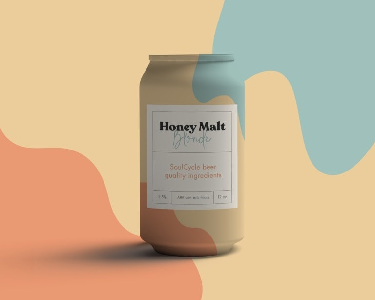 organic color blocking packaging design trend: can in pastel color-blocked design