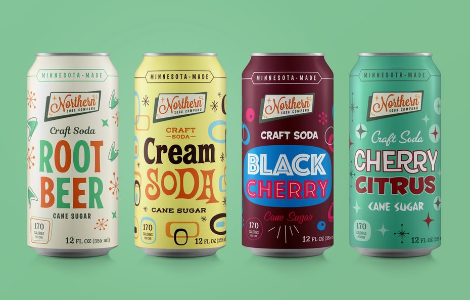 name-focussed packaging design trend: four soda cans, each in a different color with bold text