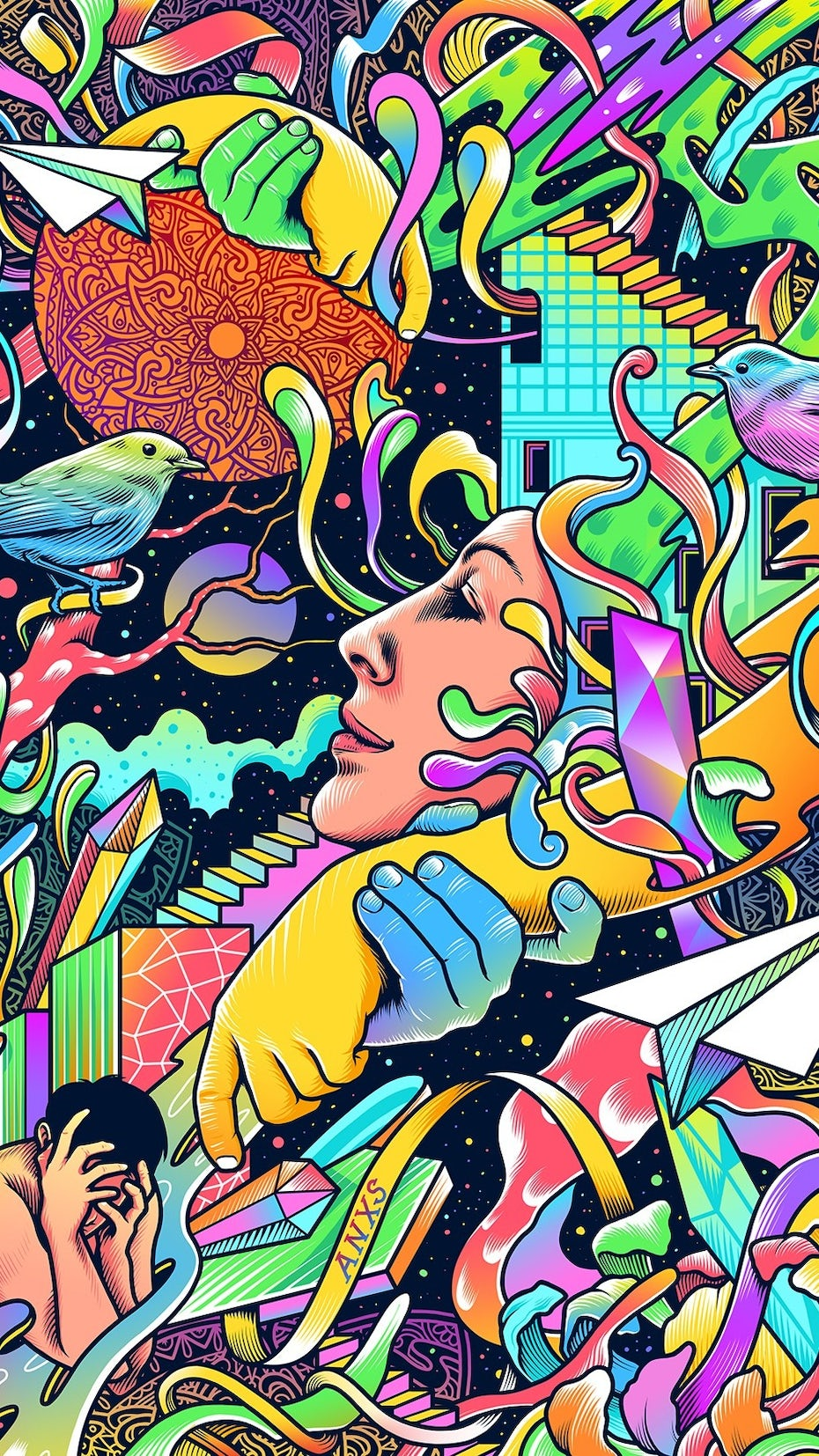 Colorful and abstract psychedelic poster illustration