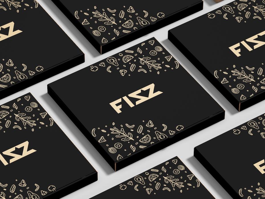 verpackungstrend winzige muster und illustrationen: schwarze pizzabox mit kleinen feinen goldenen Illustrationen
