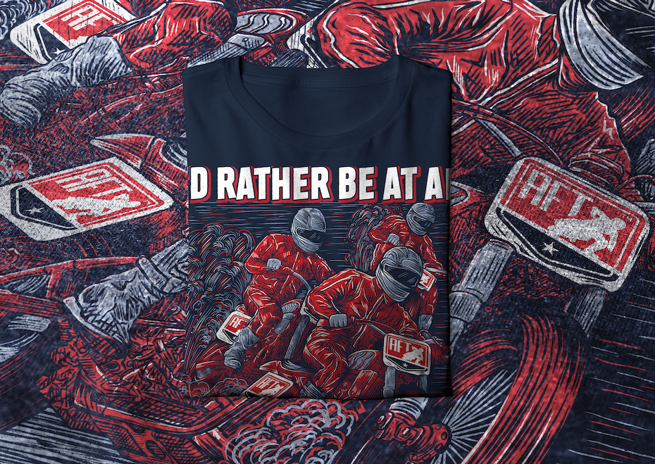 t-shirt design of motorcyclists largely in light blue, with a red accent