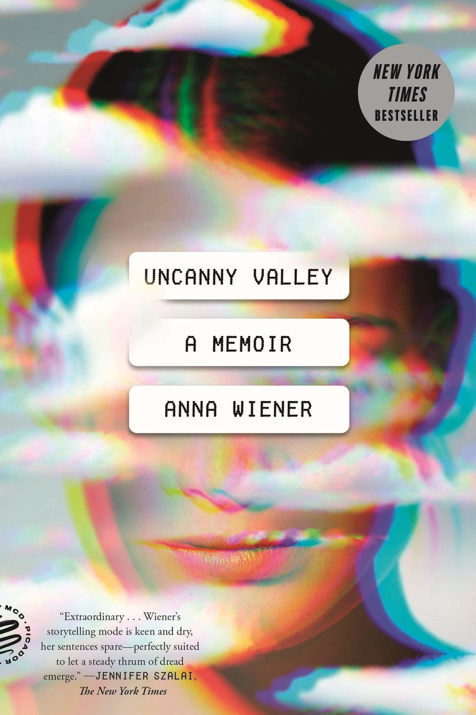 book cover showing a woman's face in the clouds, partially obscured by text