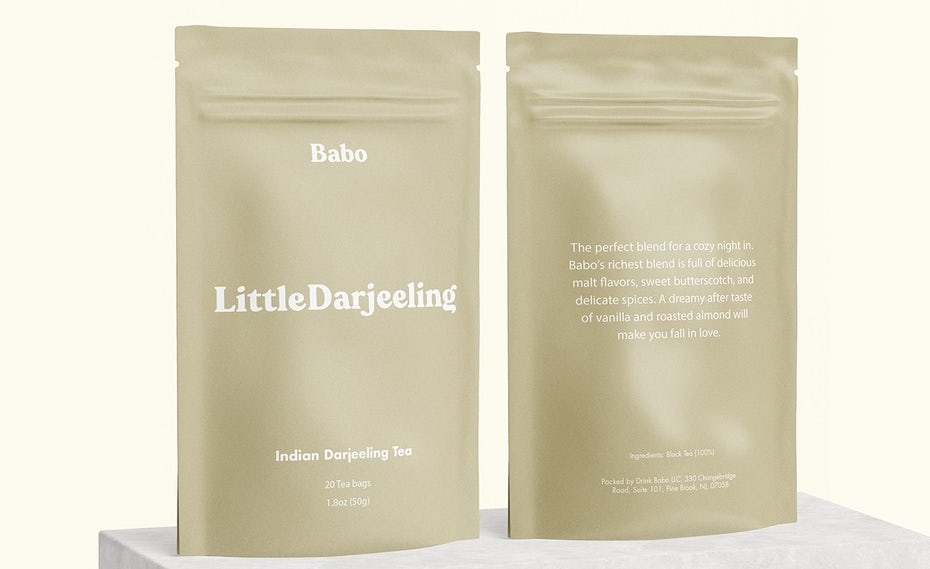 solid color packaging design trend: tan pouch packaging for a bubble tea kit