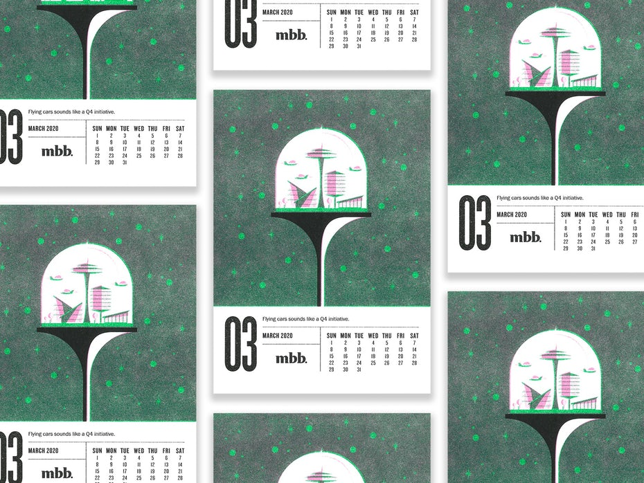 Calendar with retro futuristic illustrations